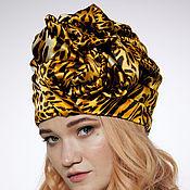 Аксессуары handmade. Livemaster - original item Leopard orange silk turban hat hijab. Handmade.