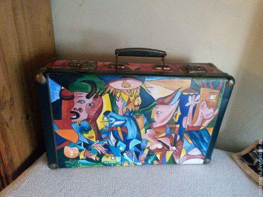 """Чемоданы ручной работы. Ярмарка Мастеров - ручная работа. Купить Старый чемодан """"Пикассо"""" Продан.. Handmade. Разноцветный, акриловые краски"""