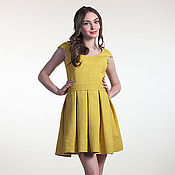 Одежда ручной работы. Ярмарка Мастеров - ручная работа 243: пышное платье желтое, молодежное платье мини, платье на выпускной. Handmade.