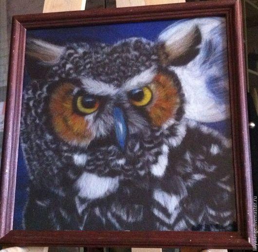 """Животные ручной работы. Ярмарка Мастеров - ручная работа. Купить картина из шерсти """"сова"""". Handmade. Серый, сова, картина, луна"""