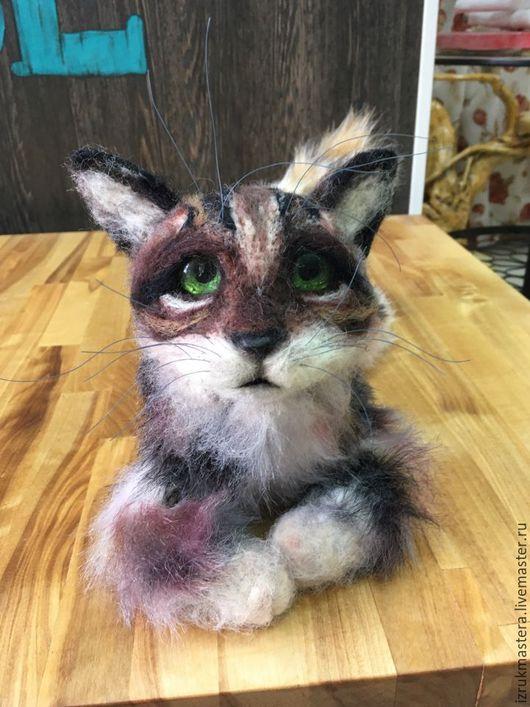 Игрушки животные, ручной работы. Ярмарка Мастеров - ручная работа. Купить Настоящий кот. Handmade. Коричневый, котик из шерсти