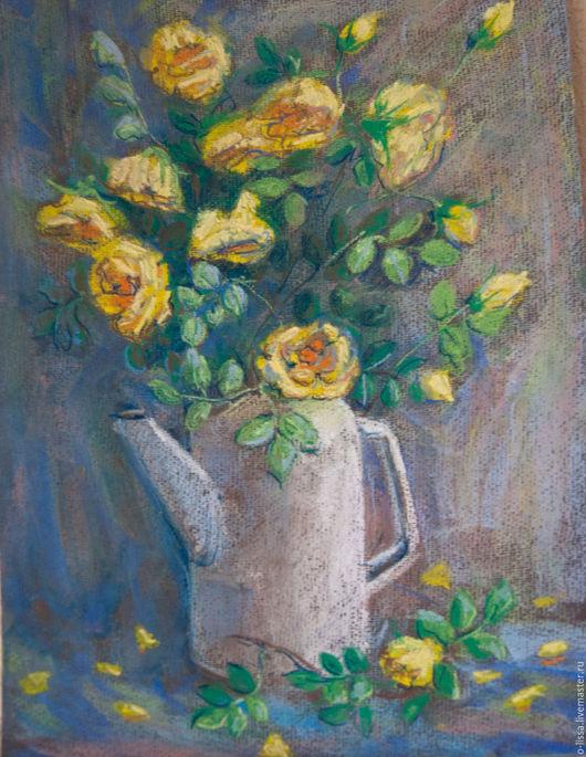 Картины цветов ручной работы. Ярмарка Мастеров - ручная работа. Купить Желтые розы. Handmade. Желтый, кувшин, искусство
