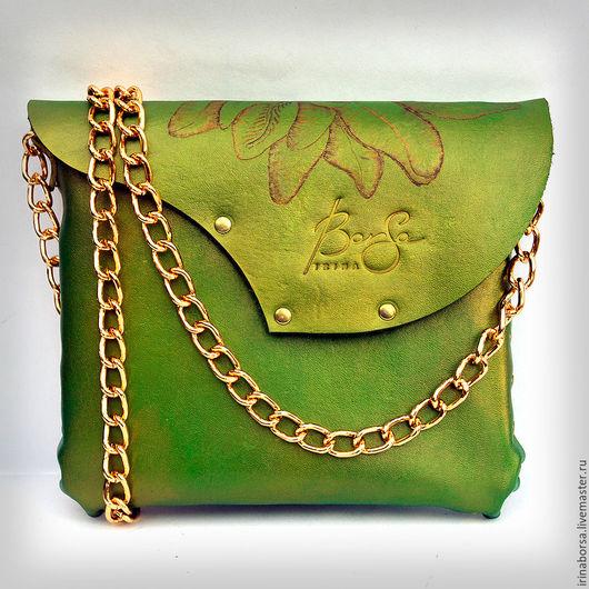 Женские сумки ручной работы. Ярмарка Мастеров - ручная работа. Купить Сумочка GREEN. Handmade. Ярко-зелёный, выжигание по коже