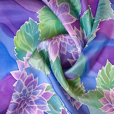 Accessories handmade. Livemaster - original item Scarf silk painting batik Purple asters. Handmade.