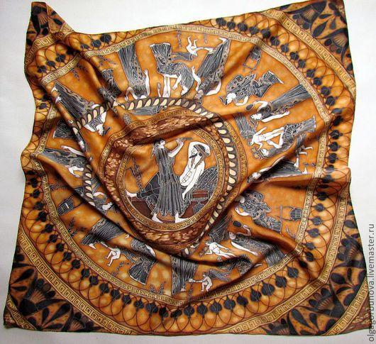Батик платок, батик, шёлковый платок, лилии на шёлке, платок батик, шёлковые платки батик.
