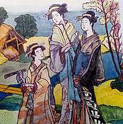 """Картины и панно ручной работы. Ярмарка Мастеров - ручная работа Картина акварелью""""Модные красавицы древней Японии"""". Handmade."""
