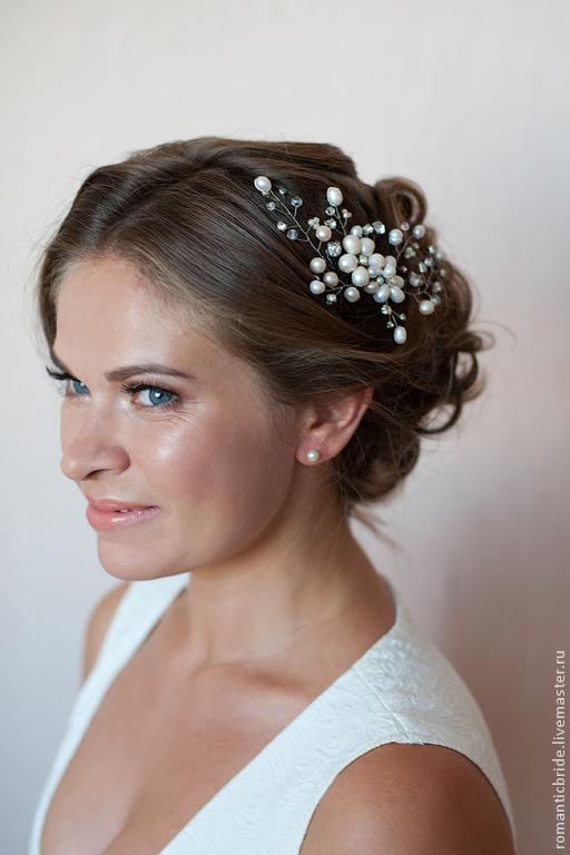 Украшение для свадебной прически, ручная работа. Украшение для невесты. Свадебный стилист Анна Нерезова. Ярмарка Мастеров.
