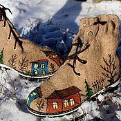 """Обувь ручной работы. Ярмарка Мастеров - ручная работа Валяные ботинки  """"Мой город"""". Handmade."""