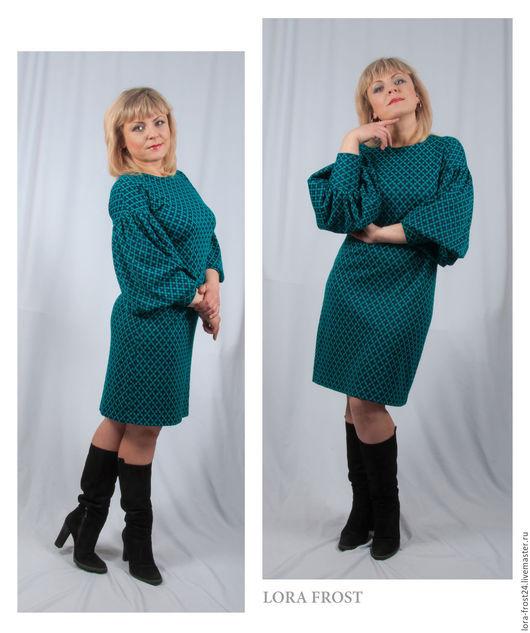 Платья ручной работы. Ярмарка Мастеров - ручная работа. Купить Платье. Handmade. Тёмно-бирюзовый, трикотажное платье, прямое платье