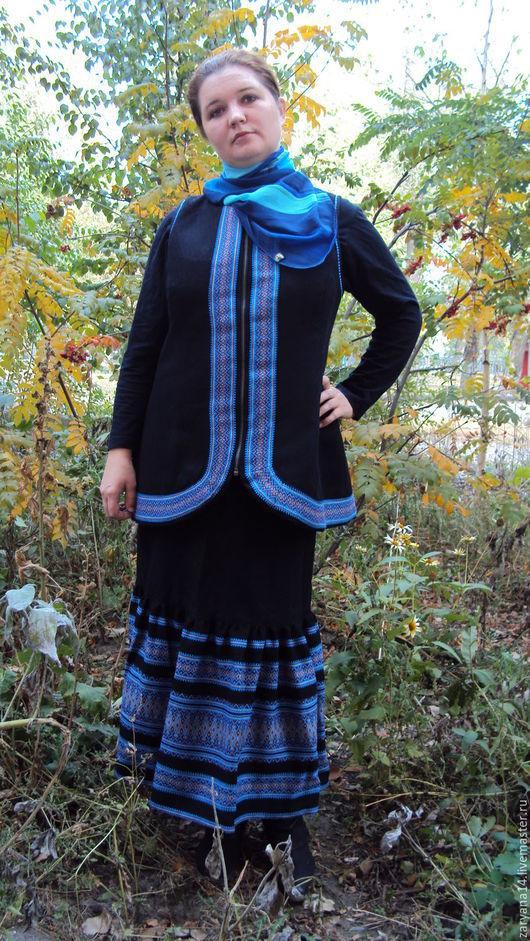 Костюмы ручной работы. Ярмарка Мастеров - ручная работа. Купить Осенний костюм с отделкой. Handmade. Разноцветный, славянский пиджак