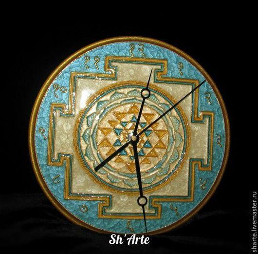 Часы для дома ручной работы. Ярмарка Мастеров - ручная работа. Купить Часы Шри-Янтра -2 Золото на голубом. Handmade.