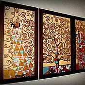 """Для дома и интерьера ручной работы. Ярмарка Мастеров - ручная работа Картина по мотивам Г.Климта """"Древо жизни"""" 3 части.. Handmade."""