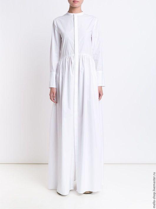 Белое летнее платье с вышивкой. Очень красивое летнее платье для офиса.