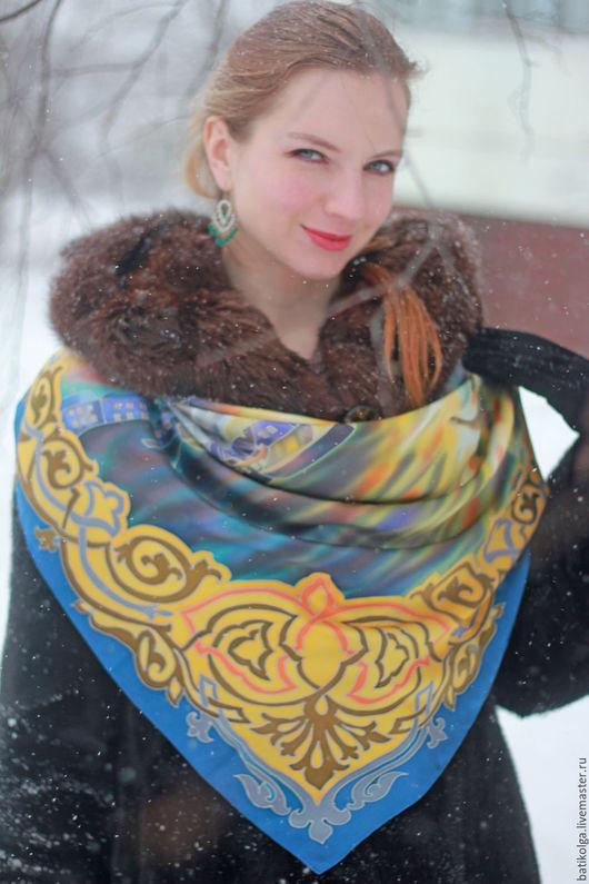 Шали, палантины ручной работы. Ярмарка Мастеров - ручная работа. Купить Шелковый платок батик Закат в Венеции. Handmade. Комбинированный