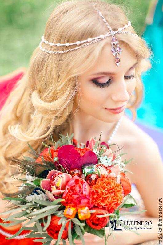 тика, свадебная тикка, портупея, украшения, украшения из бисера, украшения из серебра, украшения для волос, украшения из проволоки, украшения из натуральных камней, аксессуары для свадьбы, аксессуары