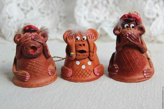 """Персональные подарки ручной работы. Ярмарка Мастеров - ручная работа. Купить Колокольчики обезьянки """"Не вижу, не слышу, не скажу!"""". Handmade."""