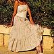 Платья ручной работы. Ярмарка Мастеров - ручная работа. Купить Платье- бандо с вышивкой и пайетками. Handmade. Бежевый, вышивка, трикотаж
