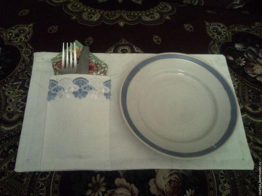 Кухня ручной работы. Ярмарка Мастеров - ручная работа. Купить Салфетка тканевая (ланчмат) для столовых приборов. Handmade. Салфетка