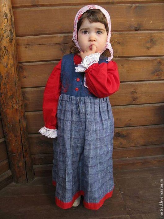 Одежда ручной работы. Ярмарка Мастеров - ручная работа. Купить Русский костюм для девочки. Handmade. Ярко-красный, русский костюм