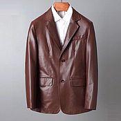 Мужская одежда handmade. Livemaster - original item Men`s jacket, made of genuine leather in brown color.. Handmade.