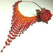 Украшения handmade. Livemaster - original item Flaming Rainbow. Coral necklace and brooch from the skin. Handmade.