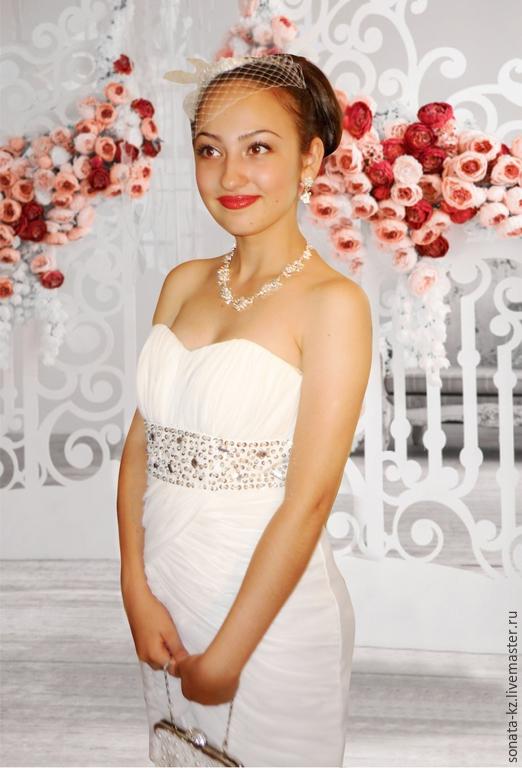 Одежда и аксессуары ручной работы. Ярмарка Мастеров-ручная работа.Купить короткое свадебное платье `Лика`Handmade.Цвет-белый.