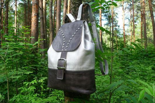 Рюкзаки ручной работы. Ярмарка Мастеров - ручная работа. Купить Рюкзак серебристо-серый. Handmade. Рюкзак кожаный, рюкзак для девушки