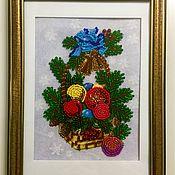 """Картины и панно ручной работы. Ярмарка Мастеров - ручная работа Вышивка бисером """"Новогодняя"""". Handmade."""