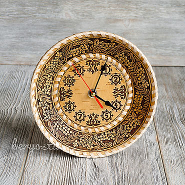 For home and interior handmade. Livemaster - original item Quartz wall clock of birch bark