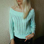Одежда ручной работы. Ярмарка Мастеров - ручная работа Летний ажурный пуловер из хлопка.. Handmade.