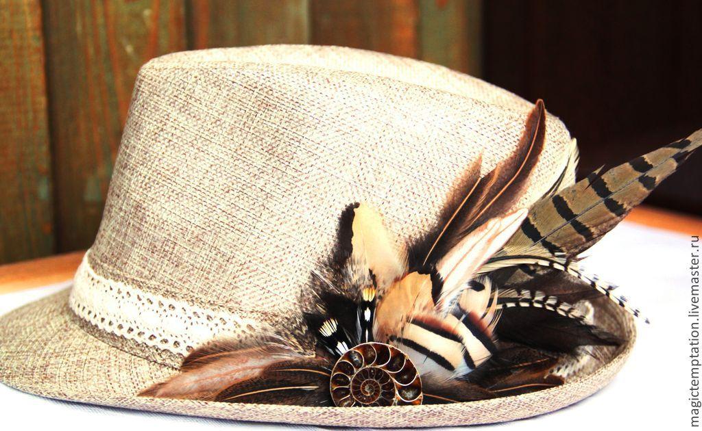 Шляпа с перьями своими руками 888
