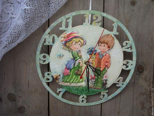 "Часы для дома ручной работы. Ярмарка Мастеров - ручная работа. Купить часы для детской комнаты ""Счастливая  встреча"". Handmade. Часы"