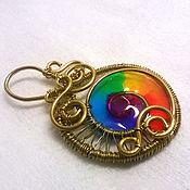 """Украшения handmade. Livemaster - original item Brass wire wrap pendant """"Rainbow"""". Handmade."""