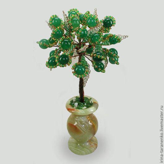 Дерево жизни из нефрита в вазочке из оникса