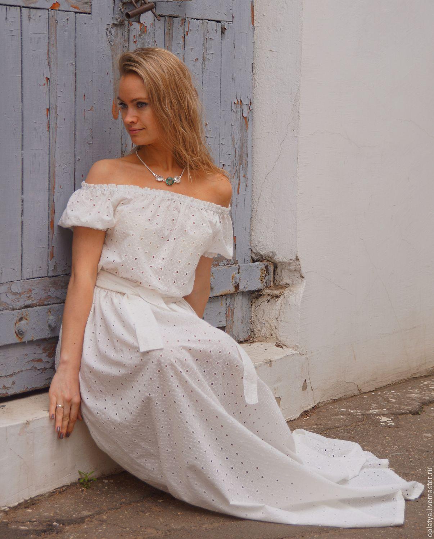 Длинное белое кружевное платье в пол
