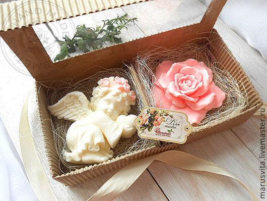 """Подарочные наборы косметики ручной работы. Ярмарка Мастеров - ручная работа. Купить Подарочный набор мыла  """"Ангел+Роза"""". Handmade."""