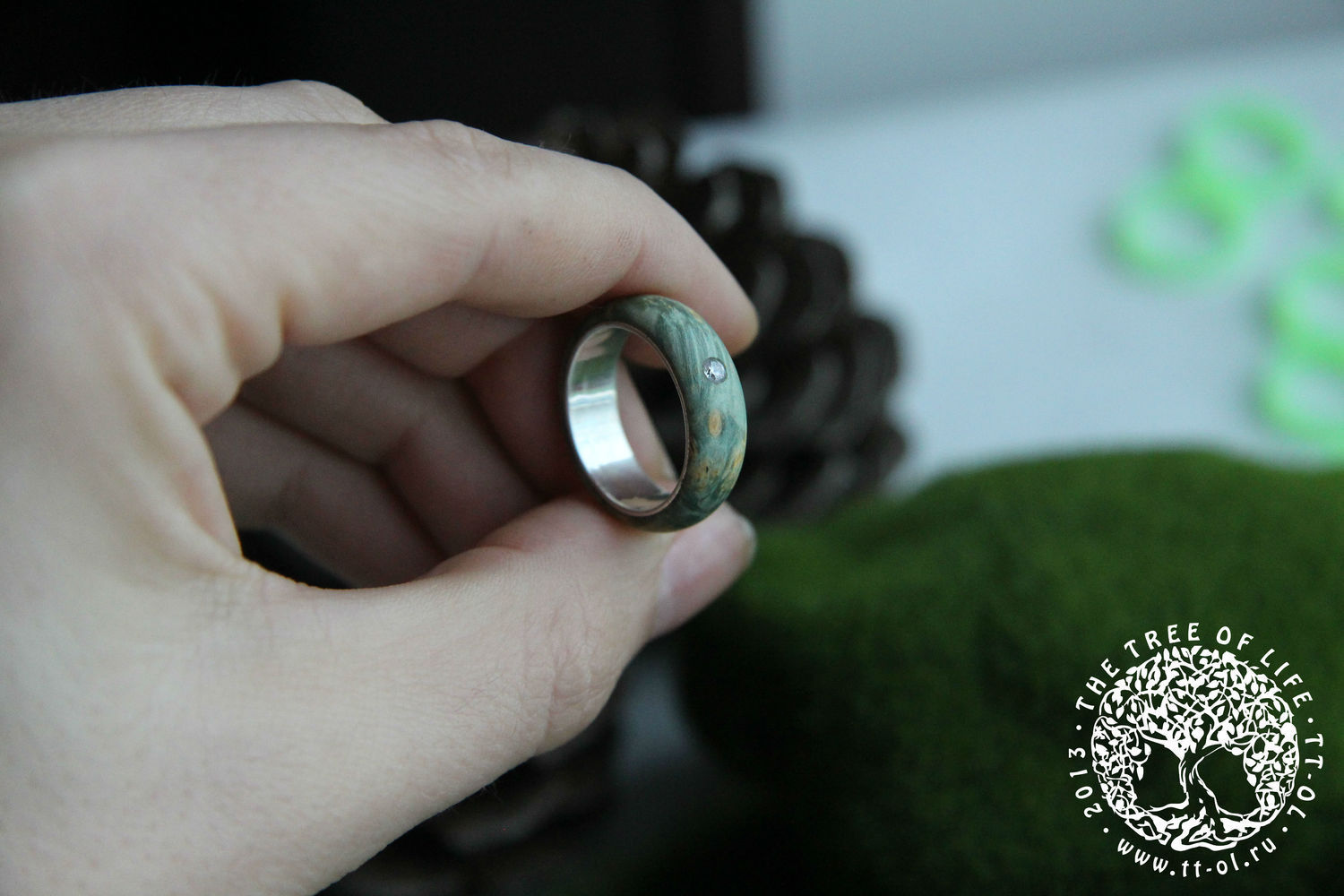 Copy of Copy of Wooden ring with emerald, Rings, St. Petersburg,  Фото №1