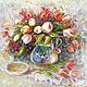 Картина `Тюльпаны` 40*50 см. Доставка по всему миру авиа почтой бесплатно.  Картина - красивый подарок на день рождения, свадьбу, юбилей, Рождество, Новый Год. Подарок для девушки, женщины.