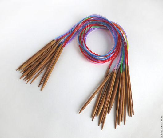 Вязание ручной работы. Ярмарка Мастеров - ручная работа. Купить Набор 100см круговых бамбуковых спиц 2 - 10 мм 18 пар цветная леска. Handmade.