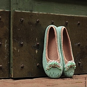 """Обувь ручной работы. Ярмарка Мастеров - ручная работа """"Райский сад""""  валяные тапочки-балетки. Handmade."""