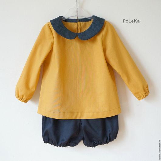 Одежда для девочек, ручной работы. Ярмарка Мастеров - ручная работа. Купить Комплект для девочки (блузка и шорты-блумеры). Handmade. блумеры