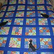 Для дома и интерьера ручной работы. Ярмарка Мастеров - ручная работа Лоскутное покрывало Кошки на окошке. Handmade.