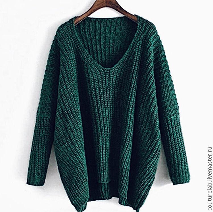 изумрудный свитер с V образным вырезом от Shapar купить в интернет