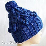 Аксессуары handmade. Livemaster - original item Hat with bobble and braids. Handmade.