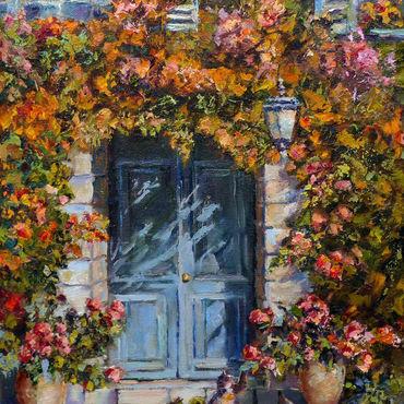 Картины и панно ручной работы. Ярмарка Мастеров - ручная работа Картина маслом на холсте Прованс южный дворик, пейзаж с цветами. Handmade.