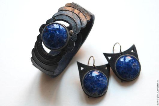 Комплекты украшений ручной работы. Ярмарка Мастеров - ручная работа. Купить Комплект браслет - серьги с лазуритами. Handmade. Тёмно-синий