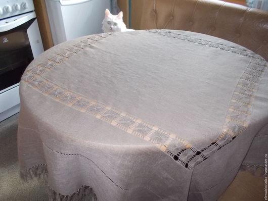 Текстиль, ковры ручной работы. Ярмарка Мастеров - ручная работа. Купить Скатерть льняная. Handmade. Бежевый, скатерть из льна