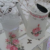 Цветы и флористика handmade. Livemaster - original item Watering can and plant pots in the style of shabby chic