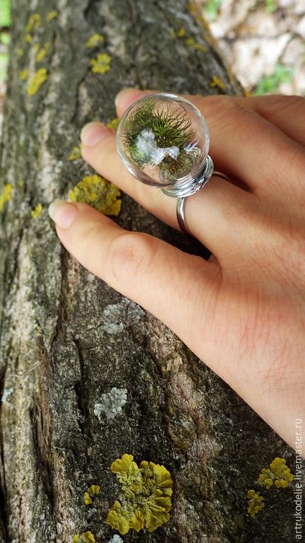Кольцо с настоящим мхом Память о лете.  Полая стеклянная сфера в этом нежном колечке заполнена настоящим мхом. Кольцо безразмерное. Диаметр стеклянной сферы - 2 см.