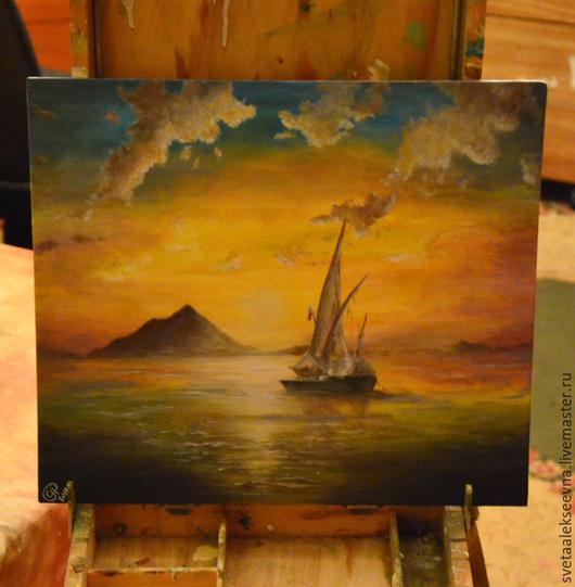 """Пейзаж ручной работы. Ярмарка Мастеров - ручная работа. Купить Картина """"Парусник"""". Handmade. Рыжий, море, холст, масляная живопись"""
